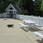 Corn Hole and Picnic Tables